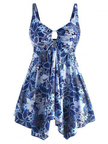 Plus Size Printed Asymmetrical Tankini Set