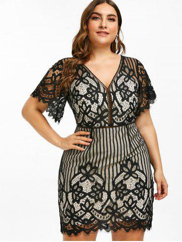 70a6c7cf1c5 Lace Eyelash Plus Size Plunge Short Dress