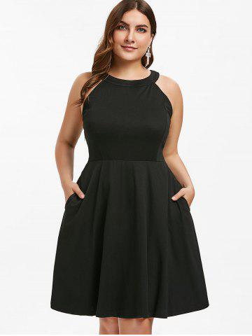 Round Neck Plus Size Fit and Flare Dress