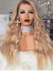 Long Wavy Synthetic Center Part Wig with Front Lace -