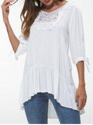 Lace Insert Knotted Sleeve Flounce Blouse -
