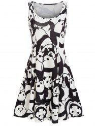 Panda Print A Line Casual Dress -