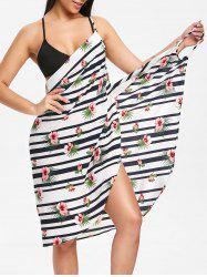 Striped Plant Print Convertible Cover-up Dress -