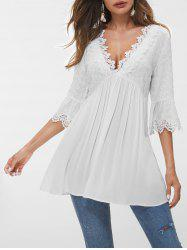 Flare Sleeve Lace Panel Eyelet Blouse -