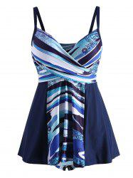 Abstract Print Plus Size Padded Swimwear -