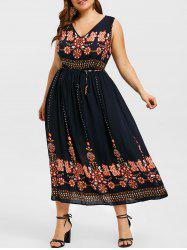 Belted Sleeveless Printed Plus Size Dress -