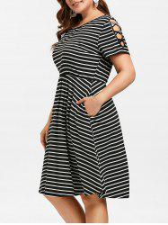 Criss Cross Sleeve Plus Size Striped A Line Dress -