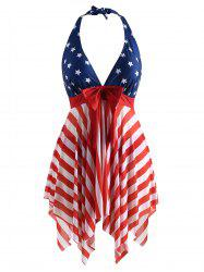 Halter Neck American Flag Plus Size Tankini Set -