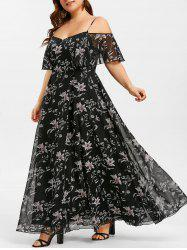 Plant Print Flounce Plus Size Maxi Dress -