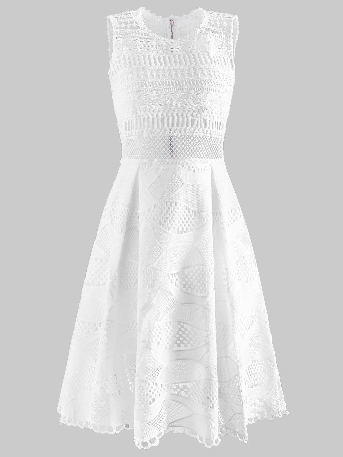 Best Laser Cut Openwork A Line Dress