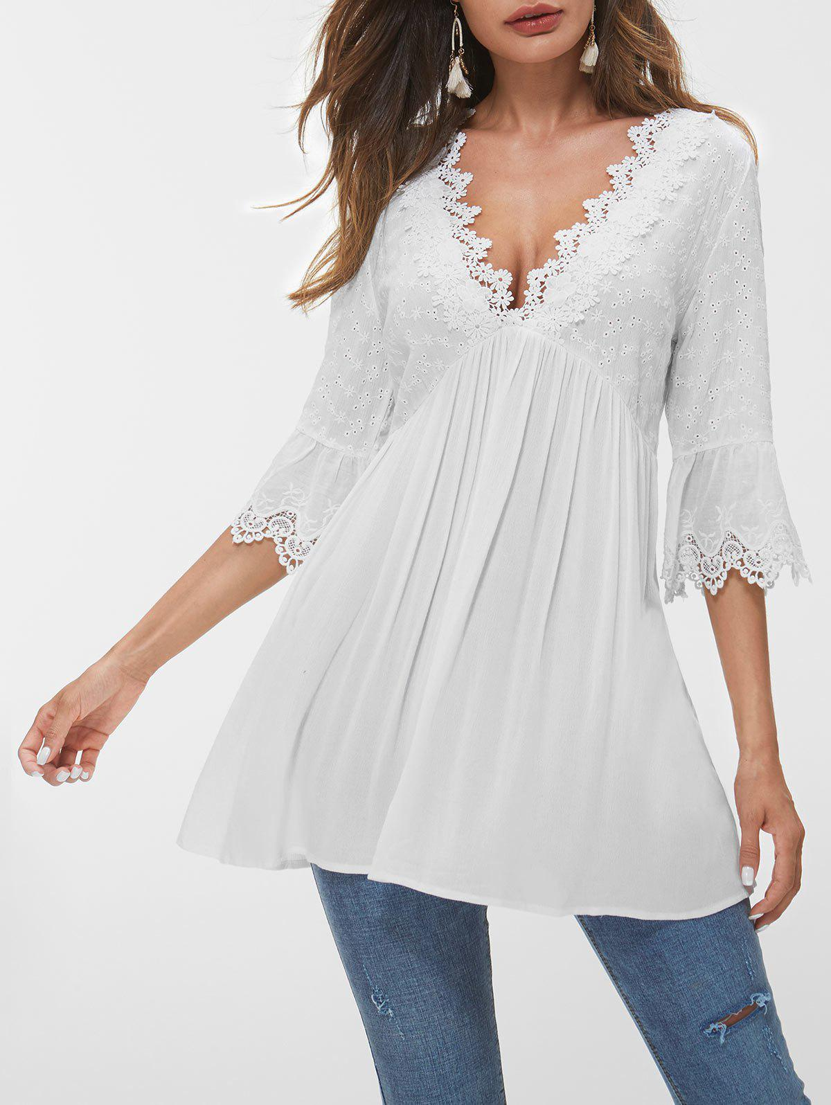 Hot Flare Sleeve Lace Panel Eyelet Blouse