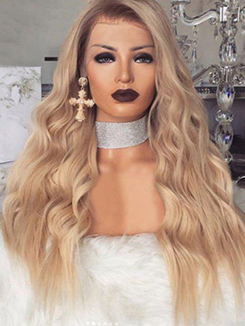 Unique Long Wavy Synthetic Center Part Wig with Front Lace