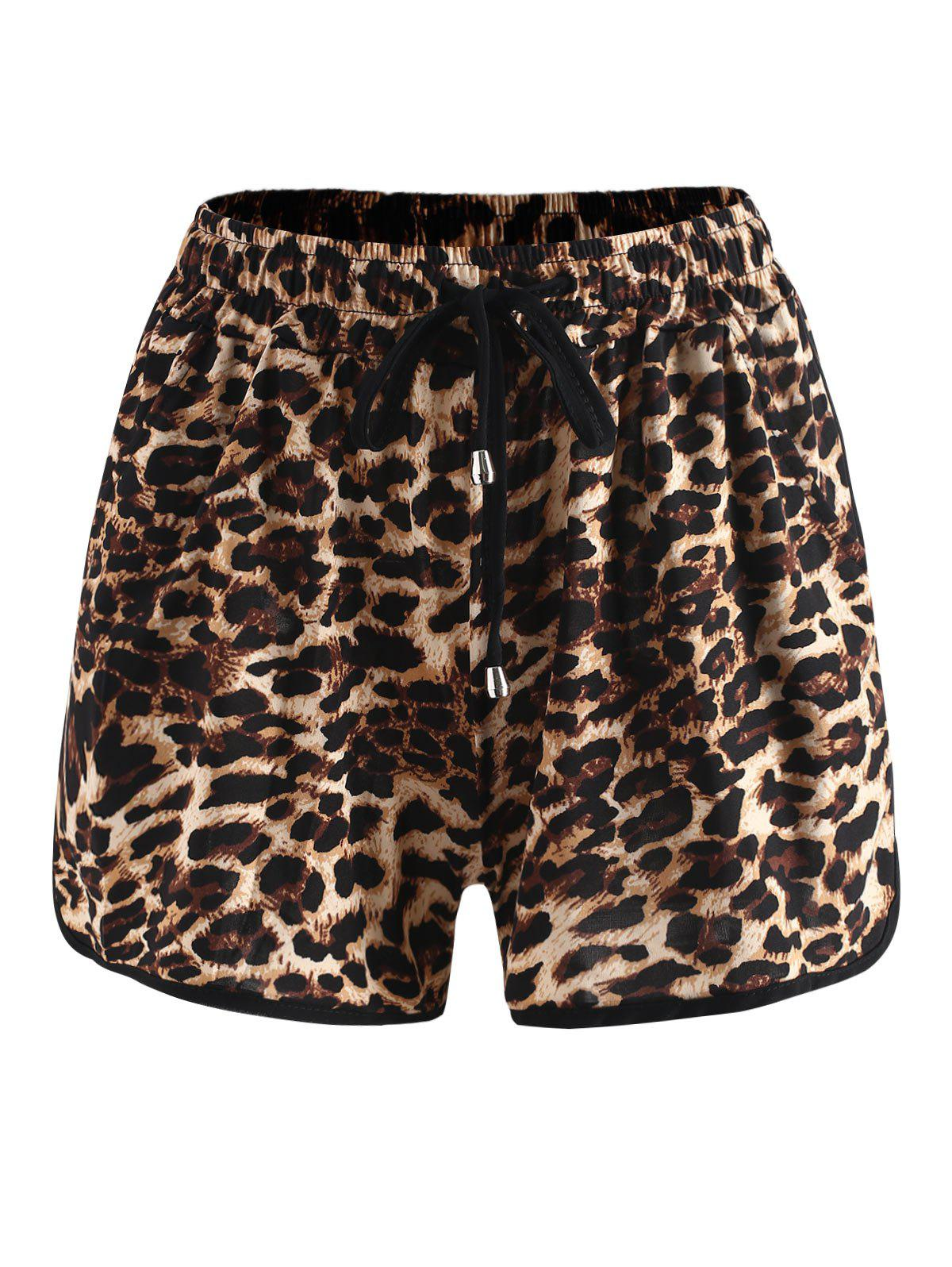 Shop Drawstring Leopard Shorts