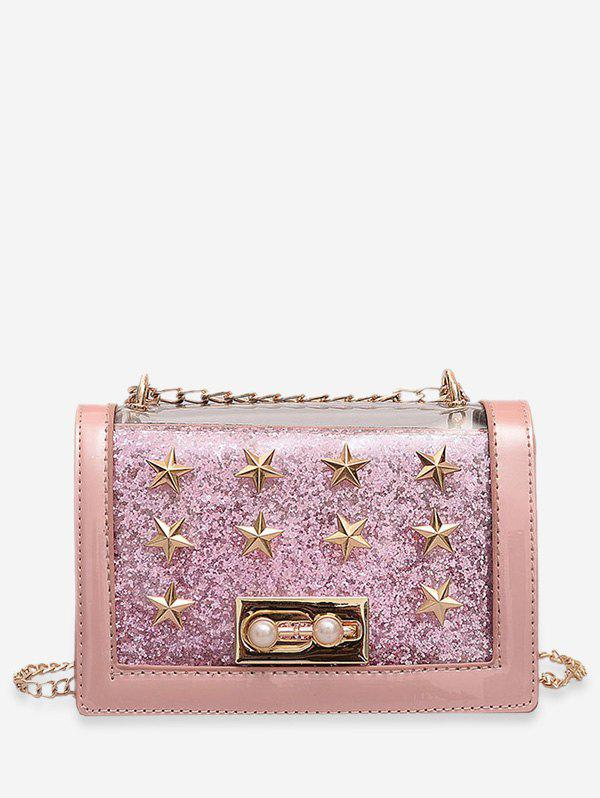 Trendy Faux Pearl Star Design Crossbody Bag