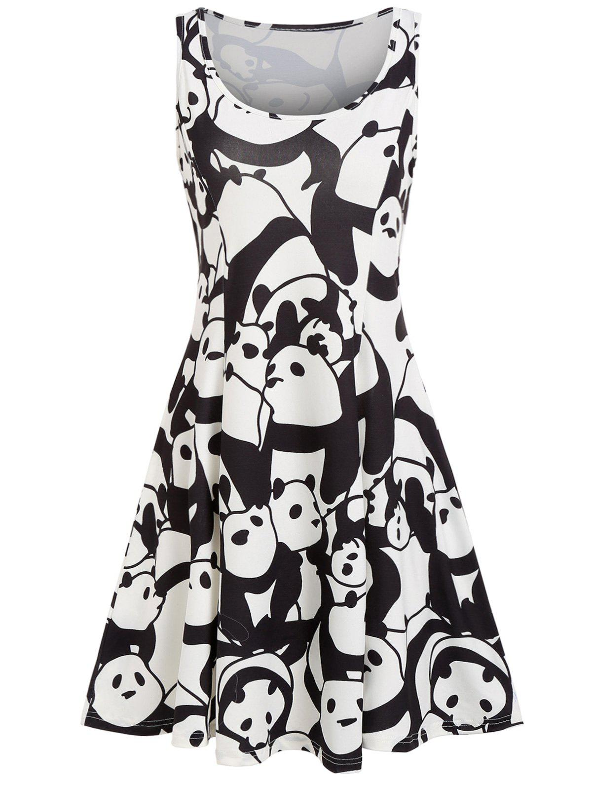 Outfits Panda Print A Line Casual Dress