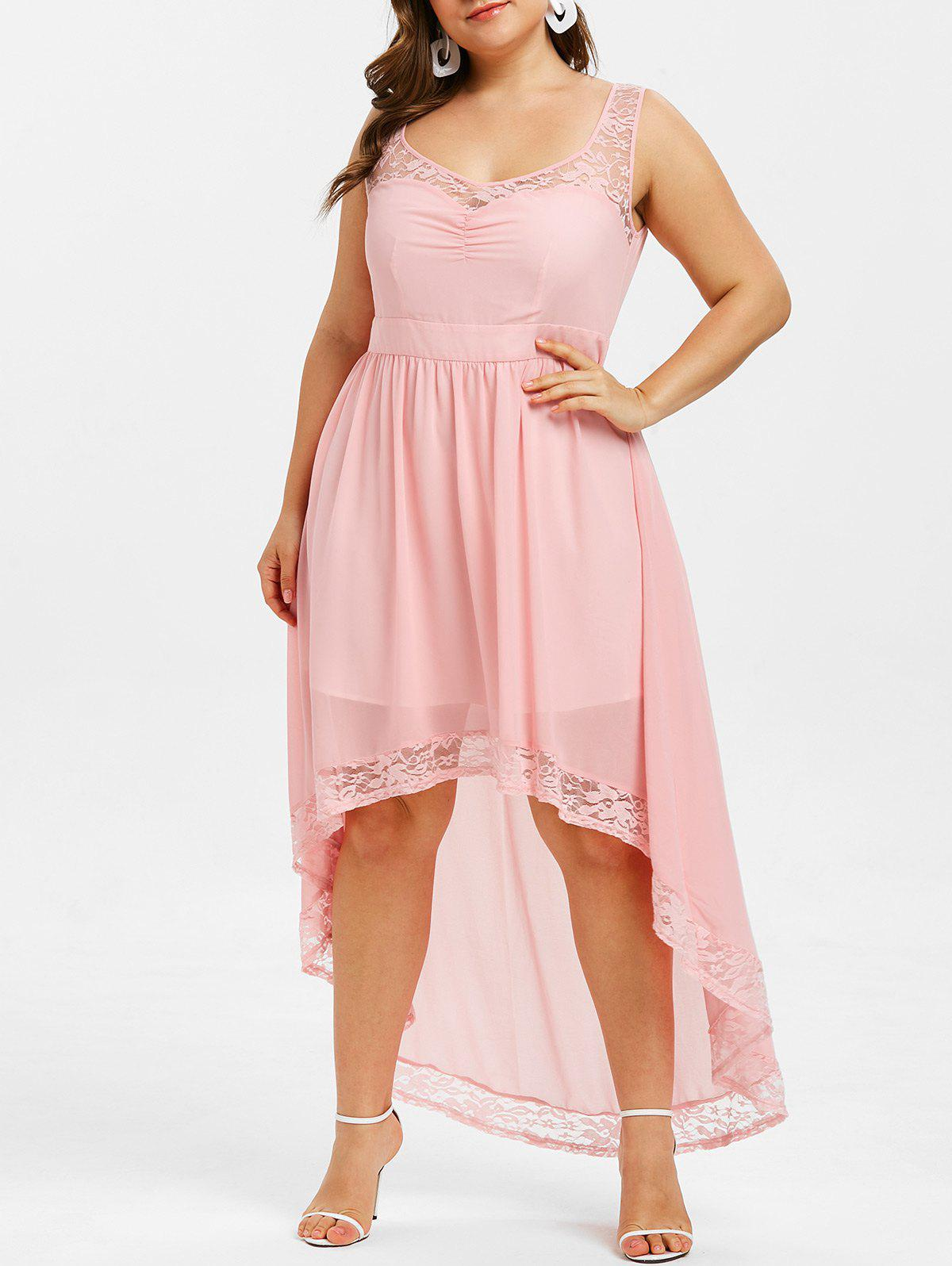 Outfits High Low Lace Panel Plus Size Dress