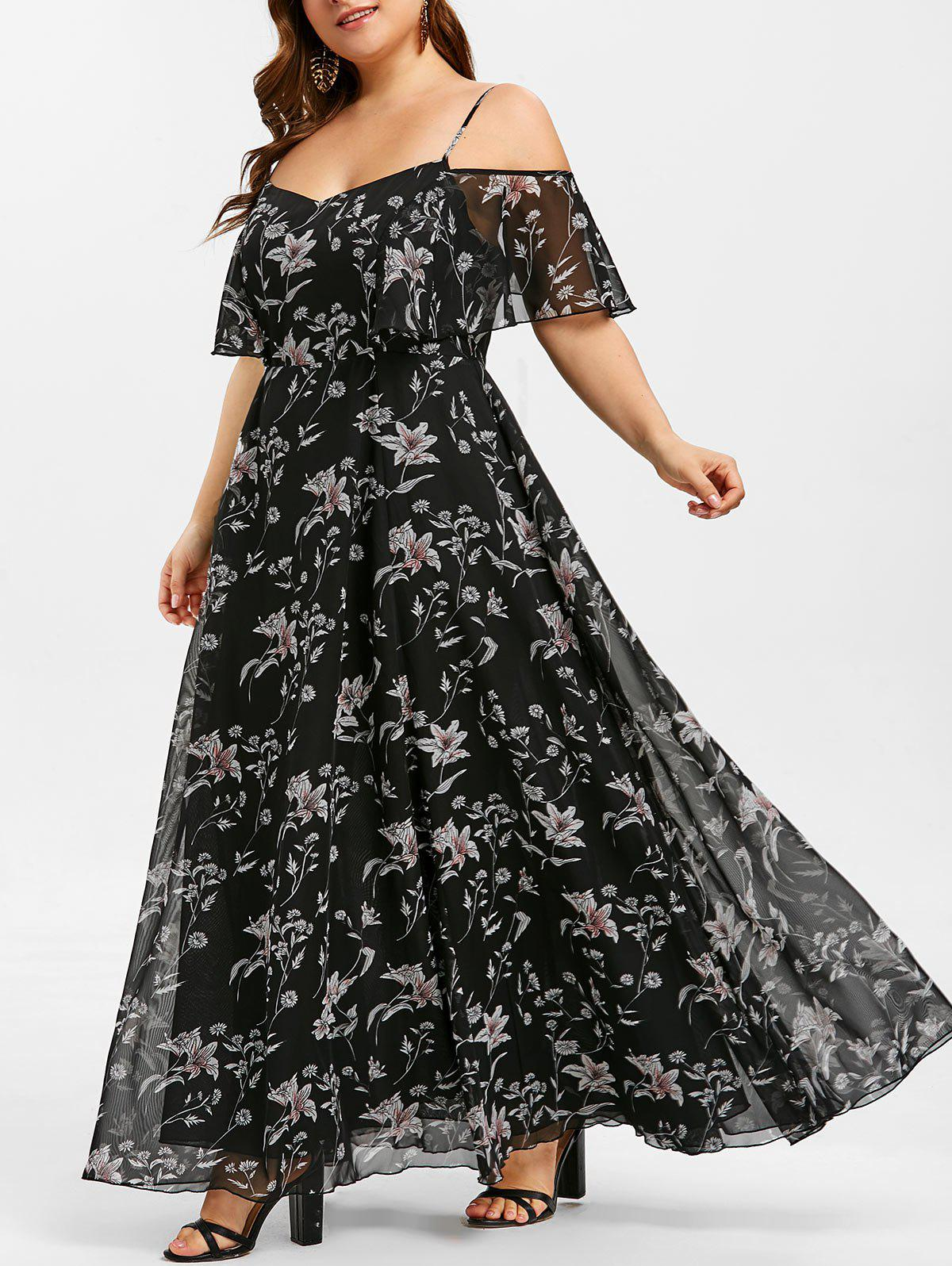 Hot Plant Print Flounce Plus Size Maxi Dress