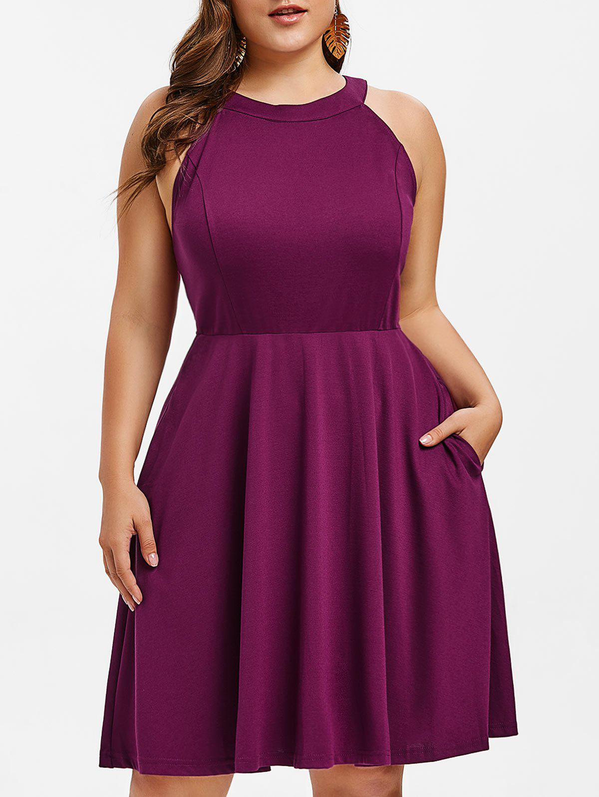 e6bfb7977ad 25% OFF  Round Neck Plus Size Fit And Flare Dress