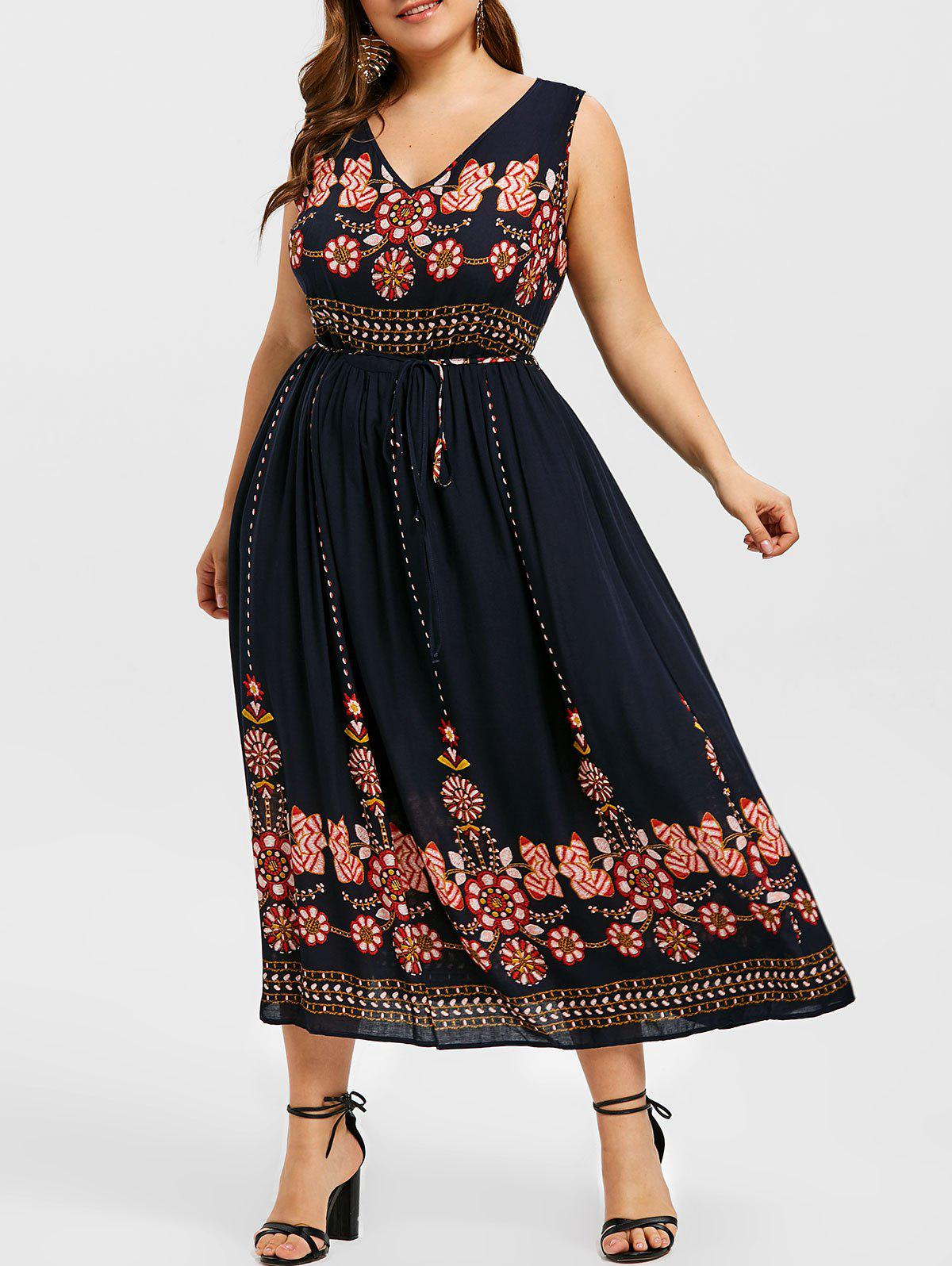 Buy Belted Sleeveless Printed Plus Size Dress