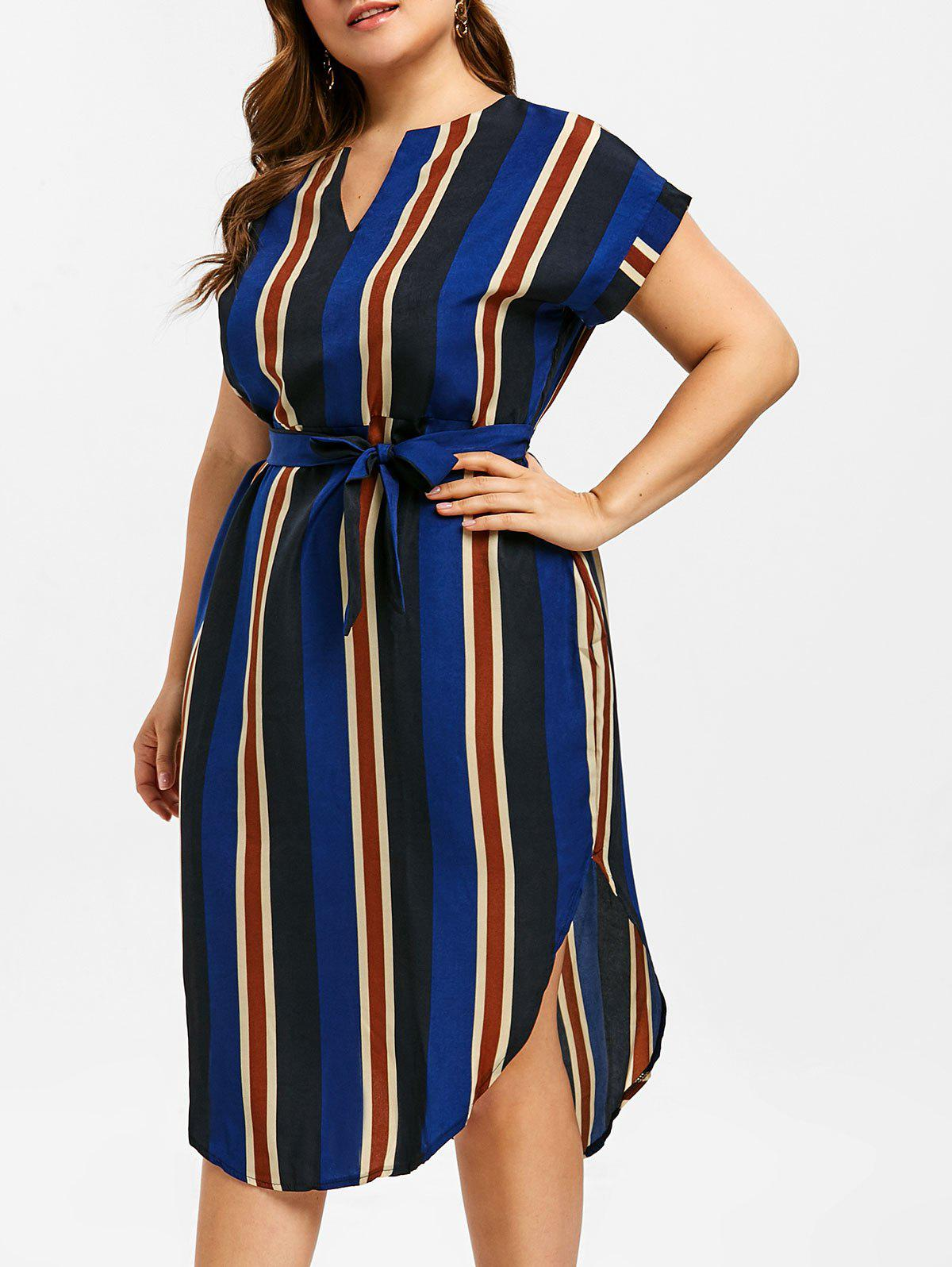 Affordable Striped Belted Plus Size Midi Dress
