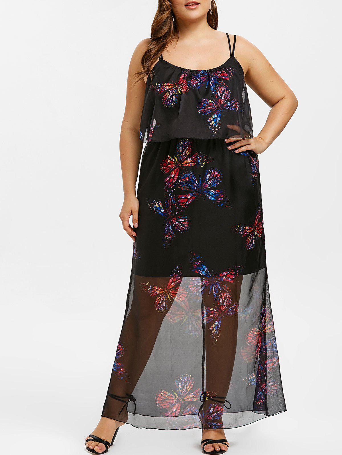 bc9f34261f3 29% OFF] Butterfly Print Flounce Plus Size Cami Dress | Rosegal