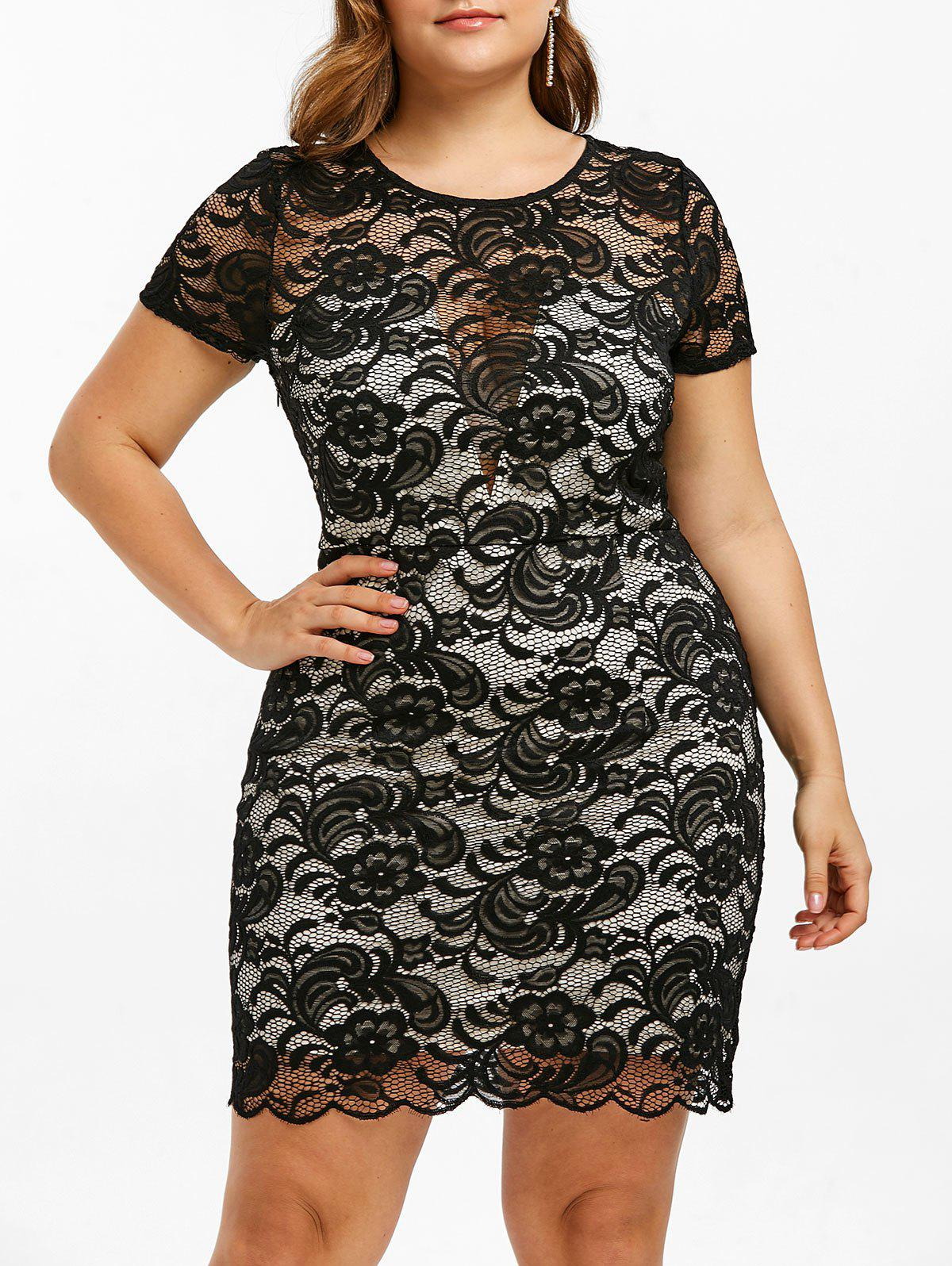 9b54038d94a 27% OFF  Lace Plus Size Short Bodycon Dress