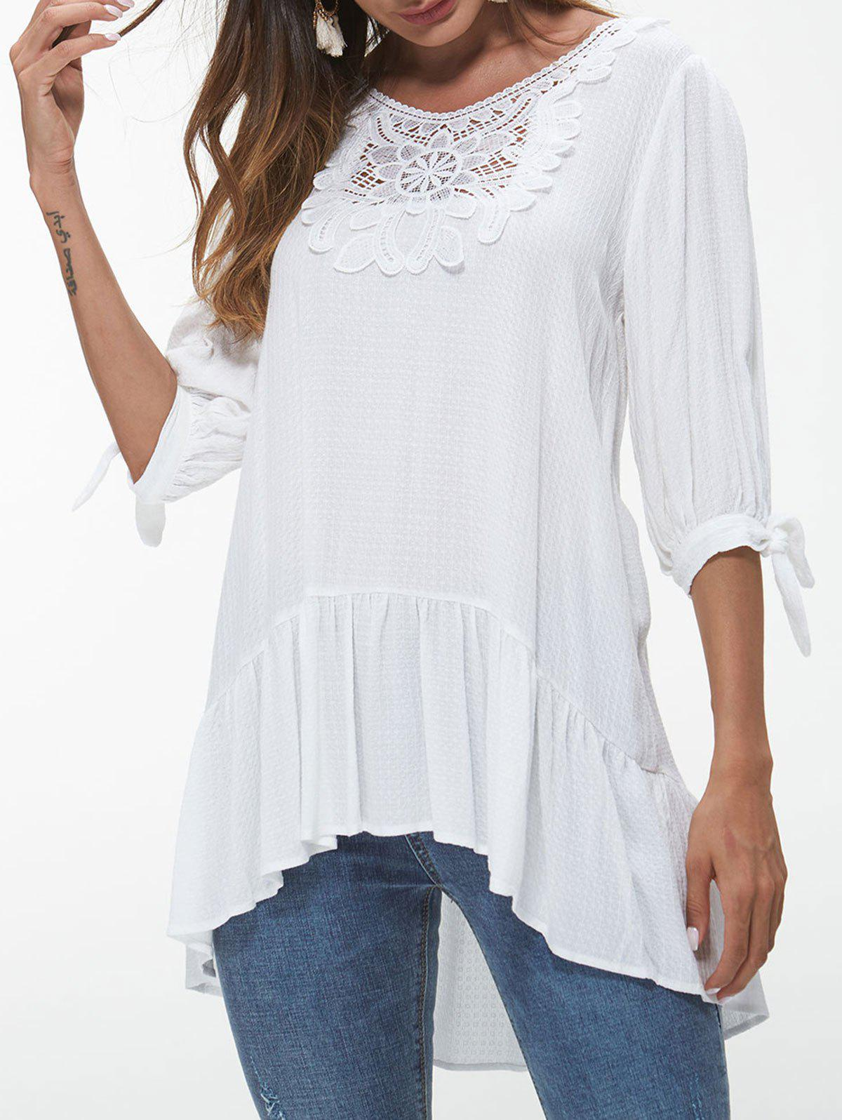 Store Lace Insert Knotted Sleeve Flounce Blouse