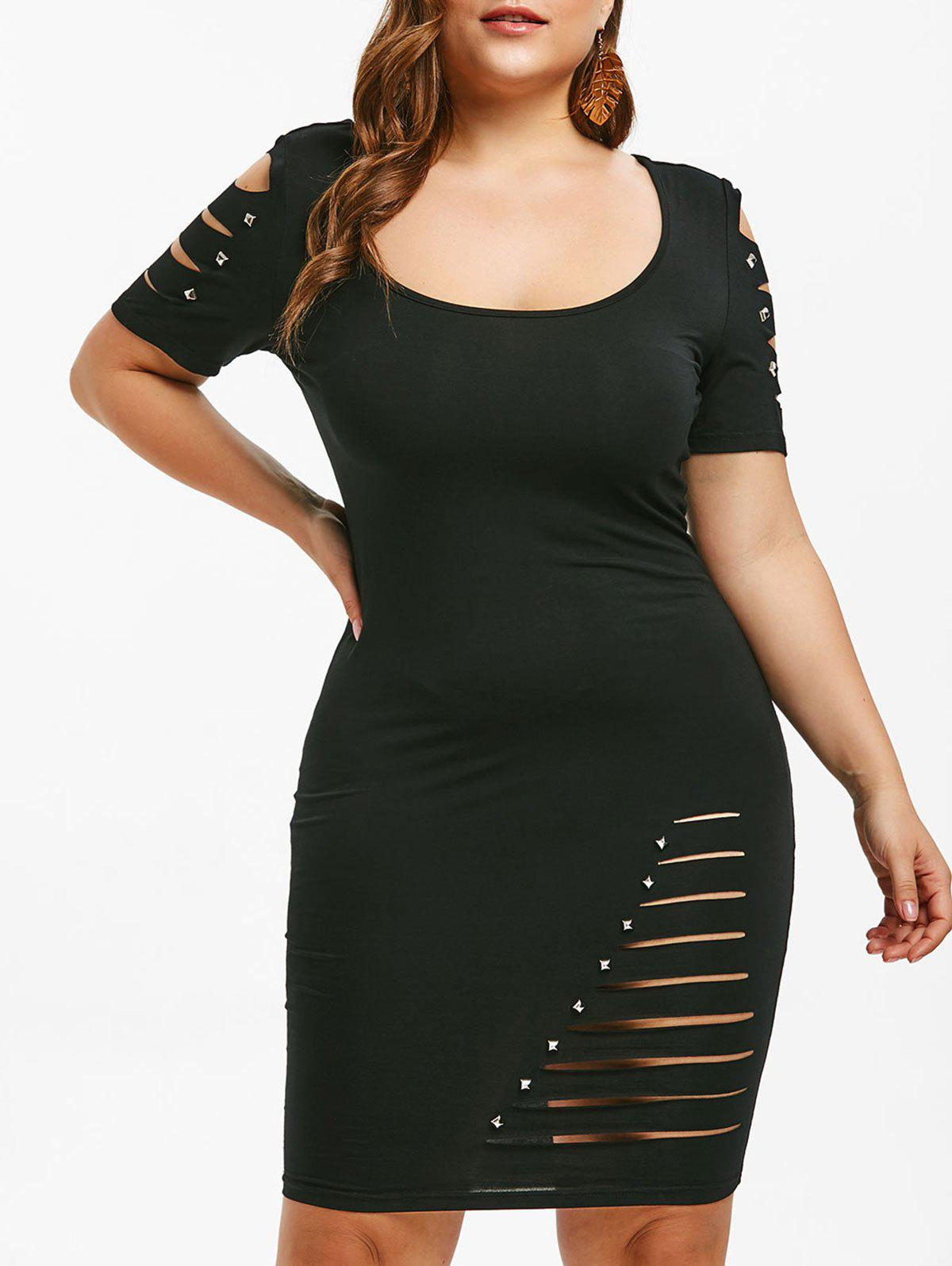 Fancy Ripped Rivet Plus Size Bodycon Dress