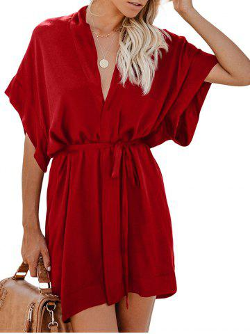 Surplice Mini Belted Shirt Dress