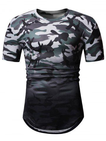 Short Sleeves Ombre Camouflage Print T-shirt