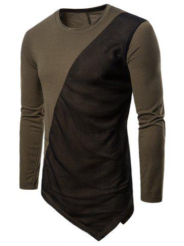 Asymmetric Mesh Long Sleeves Panel T-shirt