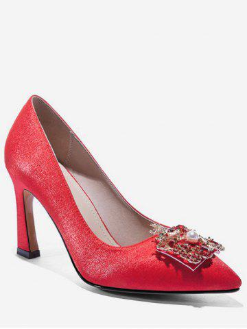 Dragon Phoenix Buckle Satin Pumps - RED - EU 37