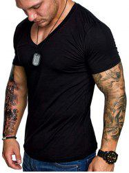 V Neck Solid Color T Shirt -
