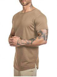 Solid Color Curved Longline T Shirt -