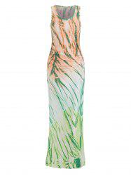Round Neck Ruched Tie Dye Dress -