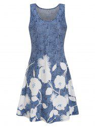 Flower Print Mini Tank Dress -