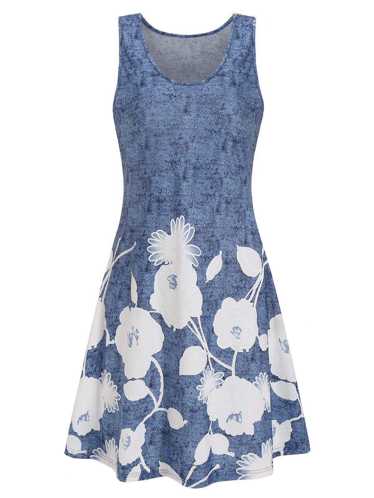 Hot Flower Print Mini Tank Dress