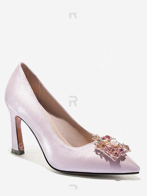 Discount Dragon Phoenix Buckle Satin Pumps
