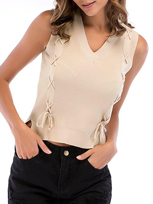 Outfit Lace-up Slit Asymmetric Knit Tank Top