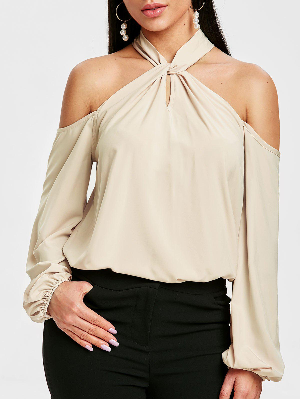 Chic Puff Sleeve Keyhole Cold Shoulder Blouse