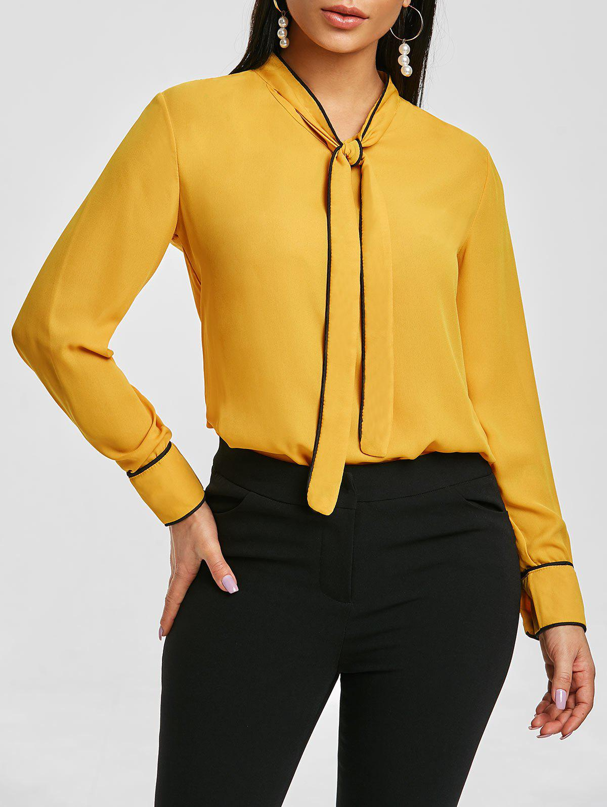 f01bcf93293fd0 37% OFF] Long Sleeves Bow Tie Blouse | Rosegal