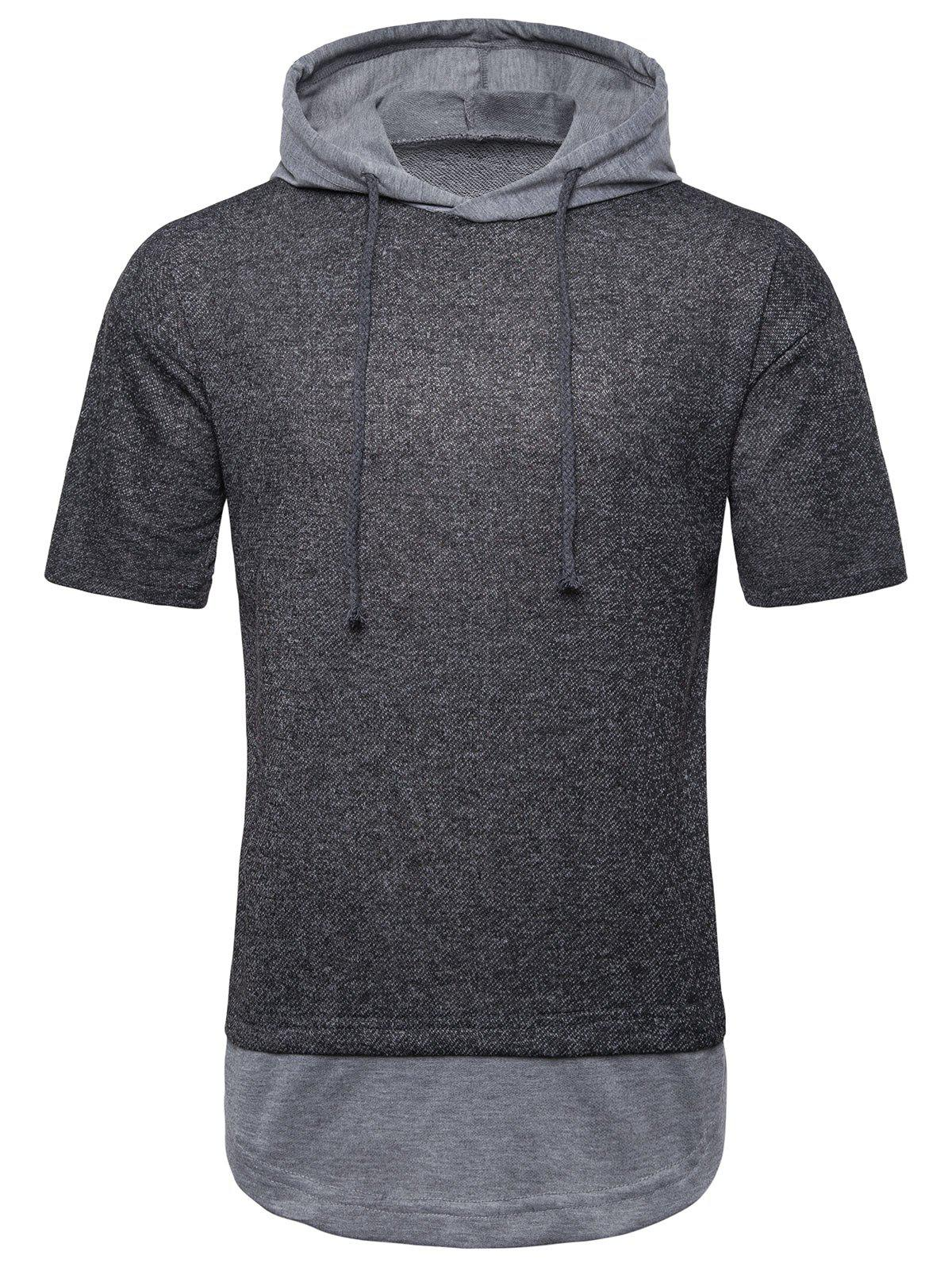 Affordable Color Spliced Drawstring Hooded T-shirt