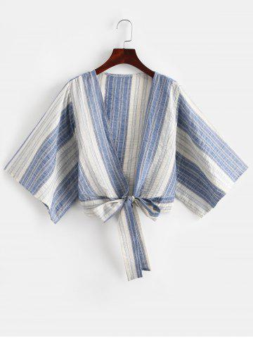 Half Sleeve Striped Bowknot Blouse