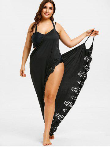 f0ed16257a9 Plus Size Laser Cut Wrap Cover Up Maxi Dress