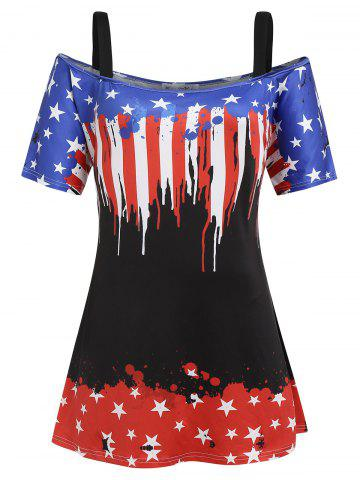 American Flag Plus Size Cold Shoulder Tunic