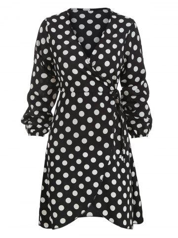 Long Sleeve Polka Dot Print Wrap Dress