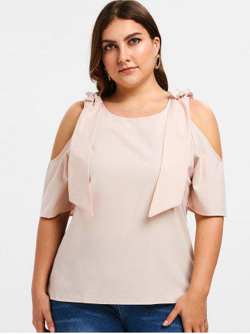 2b4113ae722cf0 Bow Cold Shouler Plus Size Top