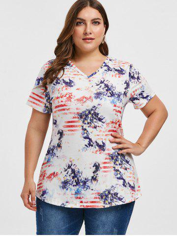 Short Sleeve Stars And Stripes Plus Size Tee
