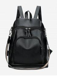 Solid Zipper Design Leather Backpack -
