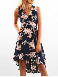 Wrap Floral Print High Low Hem Dress -